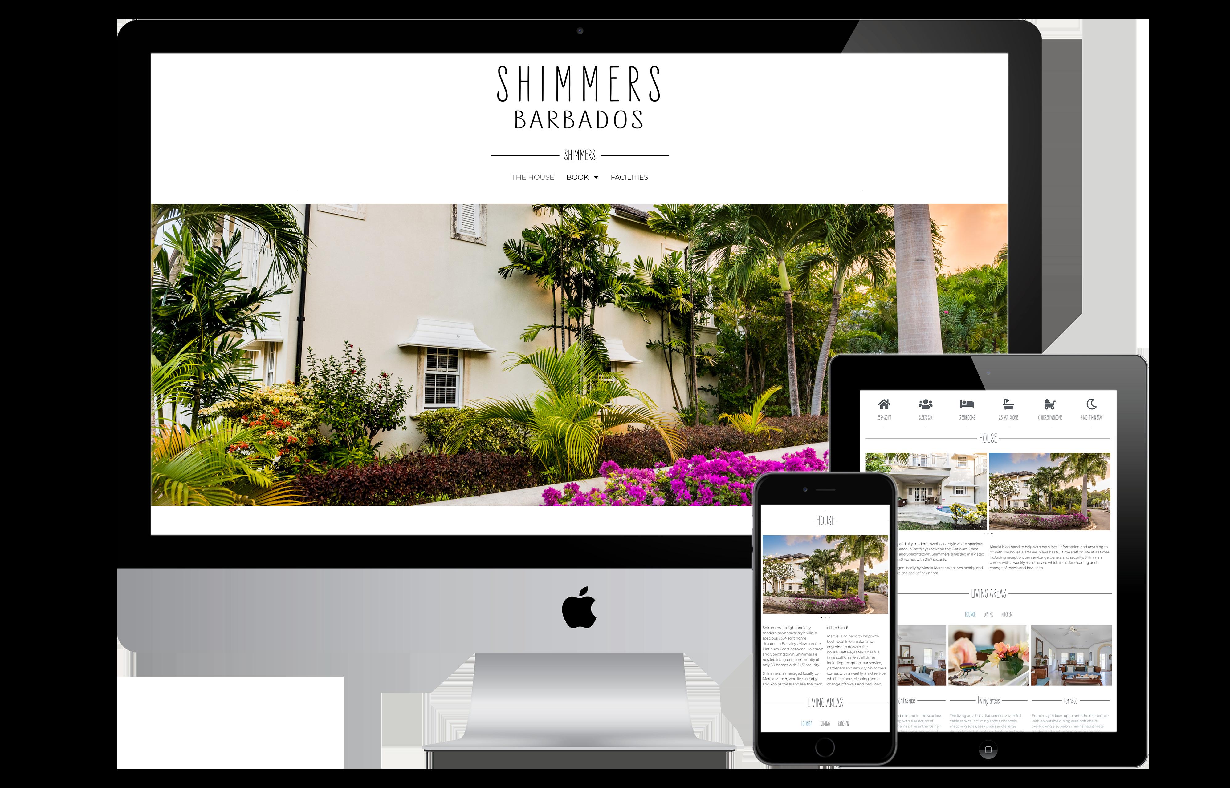 Shimmers Website mock up